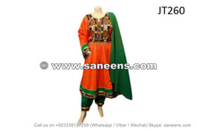 afghan muslim orange dress with balochi embroidery work