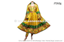 afghan pashtun handmade dresses frocks in yellow color