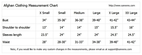afghan clothes measurements chart