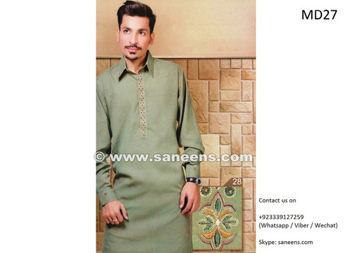 afghan clothes for men, pashtun gents dress with tape work