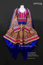 afghan clothes, persian bridal frock in high low design