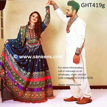 afghan clothes, afghani dress new style in teal color