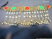 afghan jewelry, kuchi tribal choker, bellydance ethnic necklace