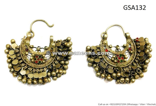 kuchi banjara earrings pair, afghan tribal earrings
