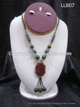 afghan jade and agate stone necklace