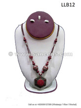 handmade tribal artwork coral stone choker locket