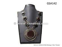afghan agate stone antique necklace, kuchi tribal artwork choker