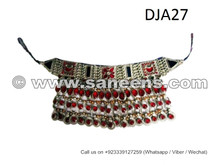 afghan jewelry necklace, kuchi tribal choker, ats bellydance neck cuff