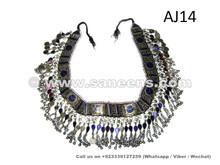 nomad tribal handmade belt with lapis inlaid lapis stones