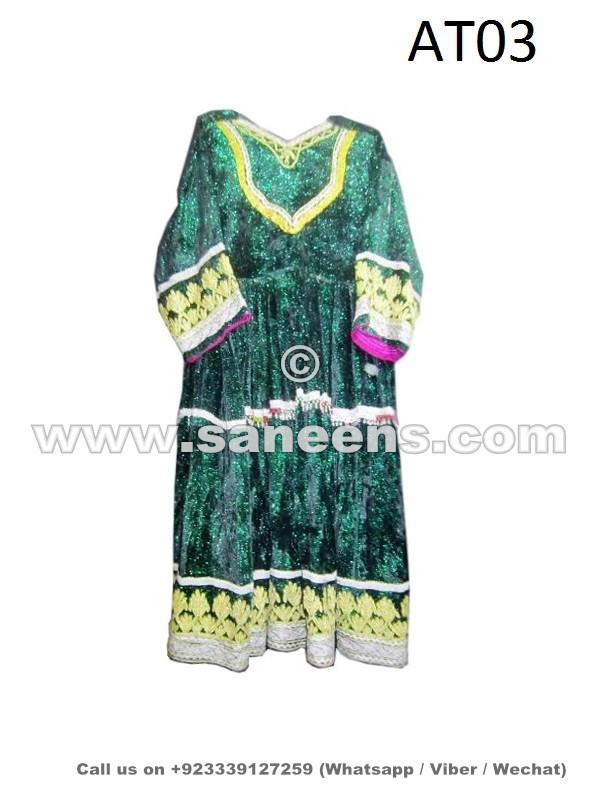 afghan kuchi handmade dress with silk embroidery
