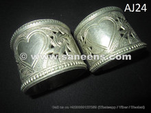 Engraved Heart on Tribal Hand Cuffs Bracelets