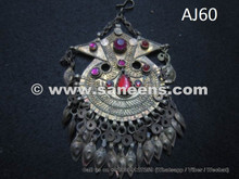 afghan kuchi tribal pendant with stones