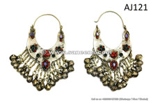 kuchi afghan traditional earrings, ibiza tribal handmade earrings online
