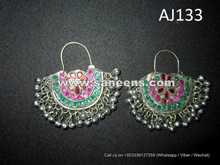 wholesale kuchi afghan earrings with stones and bells