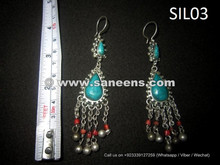 afghan kuchi earrings in pure silver metal