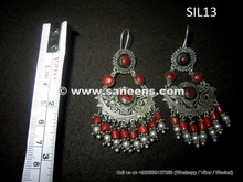 wholesale tribal kuchi earrings in silver and coral stones