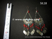 afghan kuchi jewelry, bohemian artwork earrings in silver