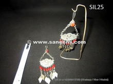 pure silver earrings from afghanistan, kuchi jewelry wholesale