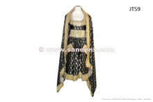 Afghan Gypsy Fire Dance Dress In Black Color Golden Thread Embroidery