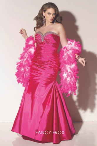 Paparazzi Evening & Prom 91057. Cerise size 14. Strapless taffeta fishtail.