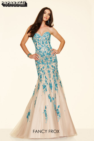 Paparazzi Evening & Prom 98060 Rose/Nude size 8 & Turquoise/Nude size 10 Fitted trumpet fishtail with a sweetheart neckline, beaded bodice and corset back