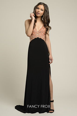 Dynasty Evening & Prom 1012405 Two strap plunge neckline & v-back jersey slinky gown