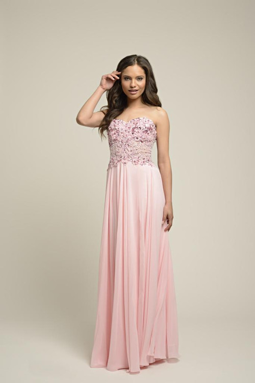 Dynasty Evening & Prom 1022607 Strapless sweetheart neckline empire line gown