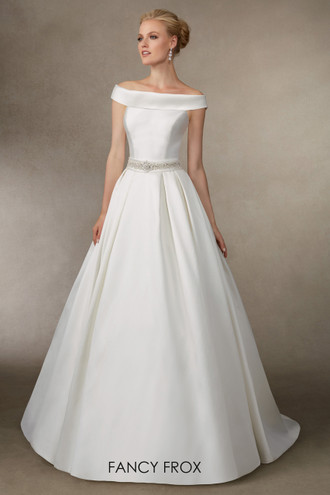 Jodie by Victoria Jane A classic looking bateau neck mikado gown with a beaded waistband, low back and button detail.