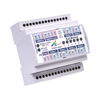 DIN Rail mount DMX controlled 6 channel mains relay
