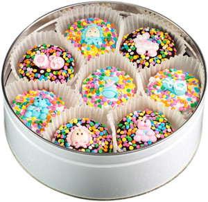 BABY GIRL - Decorated Chocolate Oreo 16 Pc Tin - SPECIAL ORDER