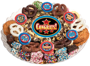 CONGRATULATIONS - Gourmet Popcorn & Cookie Assortment Platters