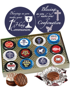 "COMMUNION/ CONFIRMATION - ""COOKIE TALK"" CHOCOLATE OREOS w/ MESSAGES -12 Pc. BOX"