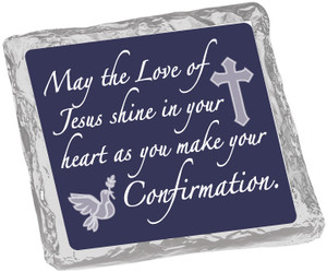 COMMUNION/ CONFIRMATION-  Chocolate Grahams - Foil-Wrapped with Messages/ Graphics