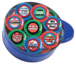 TEACHER APPRECIATION 'COOKIE TALK' CHOCOLATE OREOs w/ MESSAGES  16 Pc. TIN