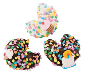BIRTHDAY- Chocolate Fortune Cookies - Classic Size- SPECIAL ORDER