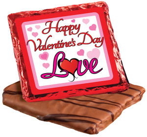 VALENTINES DAY -  CHOCOLATE GRAHAMS - FOIL-WRAPPED  WITH MESSAGES/ GRAPHICS