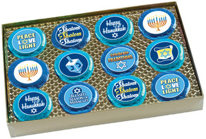 "HANUKKAH ""COOKIE TALK"" CHOCOLATE OREO GIFT 12 Pc. BOX W/ MESSAGES"