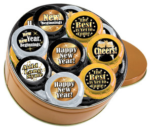 "HAPPY NEW YEAR ""COOKIE TALK"" CHOCOLATE OREO 16 PC TIN W/ MESSAGES"