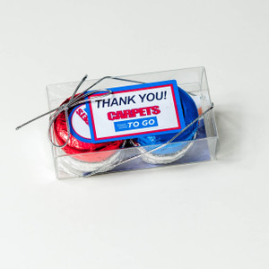 BUSINESS FAVOR - CHOCOLATE OREOS - CUSTOM QUAD PACK - Foil-Wrapped with Labels