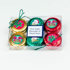 CHRISTMAS / HOLIDAY - CHOCOLATE OREO - 6 PK. Foil-wrapped with Labels