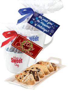 CHRISTMAS / HOLIDAY CERAMIC MUG W/ BISCOTTIS W/ HANGTAG