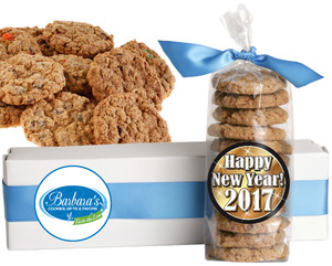 HAPPY NEW YEAR  FRESH-BAKED CRUNCHY & HEARTY COOKIES - 4 Varieties/ All Sizes: Chocolate Chips, Nuts, M&MS or Cranberry