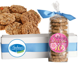 SWEET 16 FRESH-BAKED CRUNCHY & HEARTY COOKIES - 4 Varieties/ All Sizes: Chocolate Chips, Nuts, M&MS or Cranberry