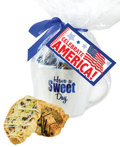 CERAMIC MUG WITH BISCOTTIS WITH AMERICA  HANGTAG - A Great Novelty Gift !