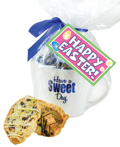 CERAMIC MUG WITH BISCOTTIS WITH EASTER HANGTAG - A Great Novelty Gift !