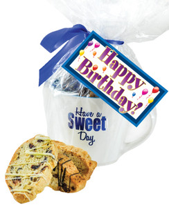 CERAMIC MUG WITH BISCOTTIS WITH BIRTHDAY HANGTAG - A Great Novelty Gift !