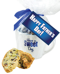 CERAMIC MUG WITH BISCOTTIS WITH FATHER'S DAY HANGTAG - A Great Novelty Gift !