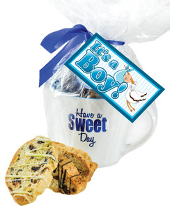CERAMIC MUG WITH BISCOTTIS WITH BABY BOY HANGTAG - A Great Novelty Gift !