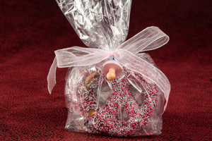 BABY FAVORS - Chocolate Covered Pretzels in a Bag