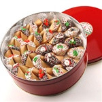 CHRISTMAS Decorated Fortune Cookies - 50 Pc Gift Tin LIMITED TIME